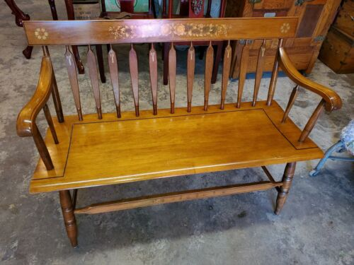 Hitchcock Riverton Harvest Deacons Bench - Solid Wood - Used - Beautiful Bench