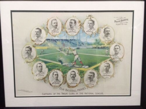"""""""Our Baseball Heroes"""" Color Lithographic Print 19th Century Engraving Cap Anson"""