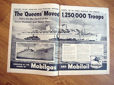 1945 Mobil Oil Gas Ad The Queen Elizabeth & Mary Moved 1,250,000 Troops