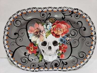 HALLOWEEN 222 FIFTH MARBELLA SKULL COLORFUL FLORAL PLATTER PLATE 13.5