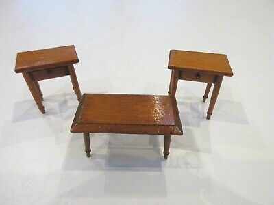 VINTAGE WOODEN DOLLS HOUSE FURNITURE - COFFEE TABLE AND TWO SIDE TABLES