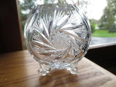 3 Footed Pinwheel Cut Crystal Clear Rose Bowl 4