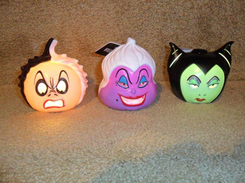 DISNEY Halloween Mini LIGHT UP Pumpkin VILLAINS SET Maleficent Ursula Cruella