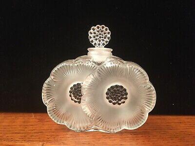 Vintage Lalique Crystal Double Flower Perfume Bottle w/ stopper