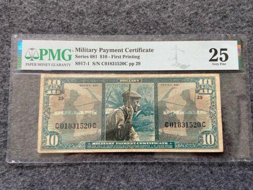 Military Payment Certificate Ten Dollar Bill $10 PMG Very Fine