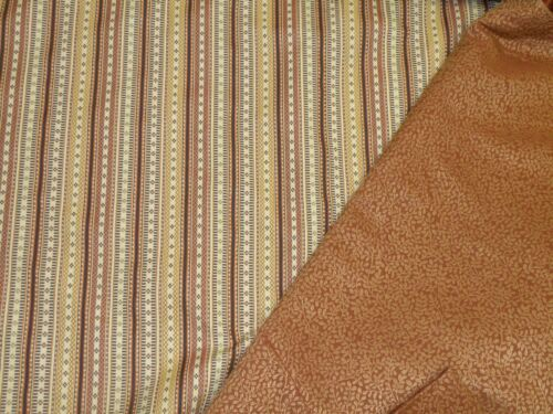 Drapery/Upholstery Weight Stripe & Clay Color Vine Coordinate Fabric-7Yds