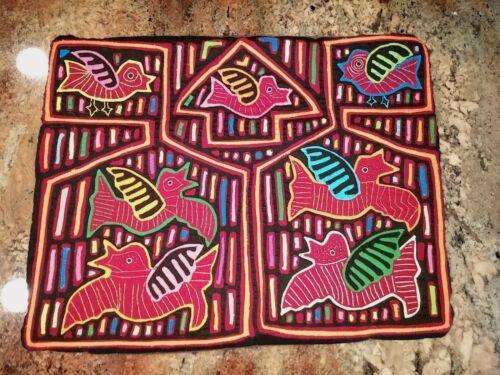 "Mola Applique Handmade Folk Art Pillow Cover 16x12"""