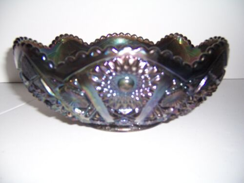"""Vnt 1950s Imperial Glass Diamond Lace Bowl 10"""" Purple Carnival Iridescent Mrkd"""