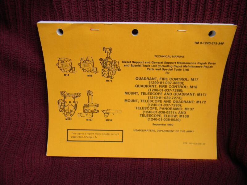 1980 QUADRANT, FIRE CONTROL: M17, M18 TM 9-1240-375-34P Tech Manual Army  #206