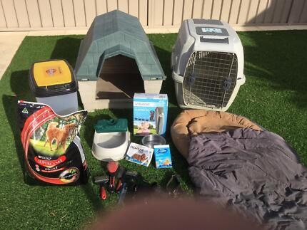 Dog kennel crate and everything else for a dog