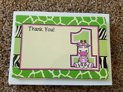 baby girl first birthday thank you note giraffe themed, 24 ct birthday party 1st