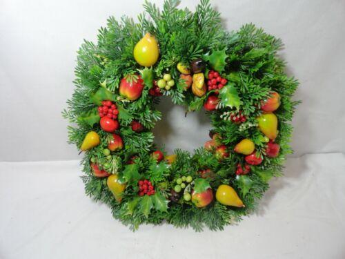 """Vintage NOS Plastic Christmas Wreath Fruit and Berries Front Door 17 """""""