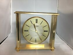 Bulova B1700 Grand Prix Mantel, Shelf Or Table Quartz Bright Brass Clock