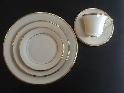 Vintage Lenox Bone China ETERNAL 5 pc Place Setting 24k Gold Ivory BEAUTIFUL!