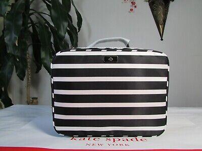 NWT Kate Spade Nylon Dawn Sailing Stripe Travel Cosmetic Bag Black / White