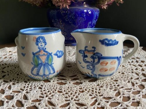 M A Hadley vintage sugar bowl and creamer ~ Folk Art ~ Signed and HP