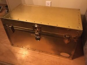 1942 Gold brass Valise Union Everlite  Steamer Trunk