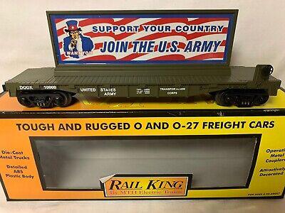 ✅MTH RAILKING US ARMY UNCLE SAM BILLBOARD ON FLAT CAR! FOR O GAUGE TRAIN SET