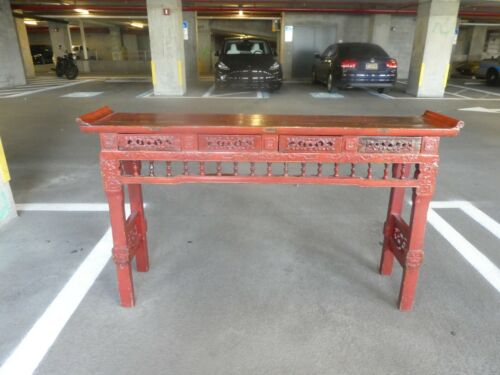 ANTIQUE CHINESE CORAMANDEL RED MING STYLE ALTER TABLE
