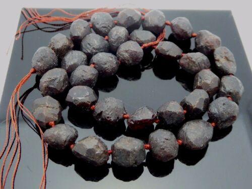 Natural Gemstone Garnet Rose Cut Nugget Matte Finish 9mm x 11mm Knotted Bead Std