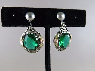 Lsp Costume (Sterling Earrings with Green Stones Screw Back 5.1g Marked LSP)