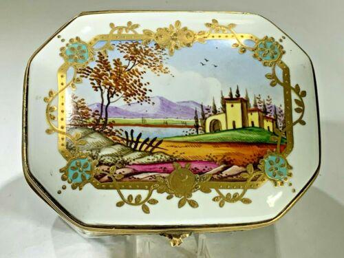 Elegant Hand Painted Large Italian Villa Country  Porcelain Hinged Box