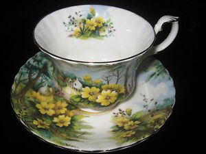 Royal-Albert-Country-Scenes-Primrose-Hill-Collector-Tea-Cup-Saucer-Excellent