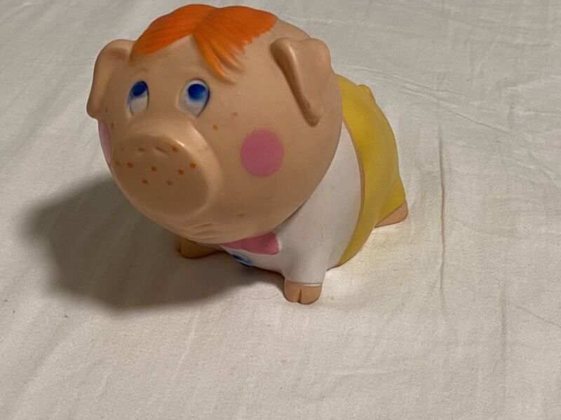 Vintage 1971 Tom Remo Pig w Red Hair Coin Piggy Bank w/ Niagra Plastics plug USA