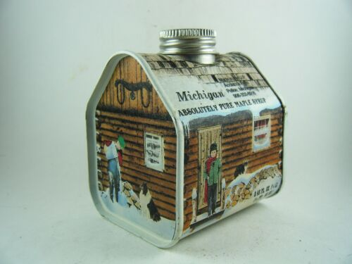 VINTAGE 1984 MICH MAPLE SYRUP LOG CABIN TIN EMPTY ACOIACCA FARM MICHIGAN