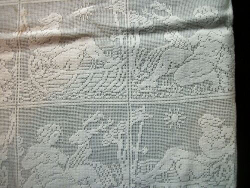 Vintage Pillowcase Filet Netting Lace Figural Design 10 x 17 inch PC37