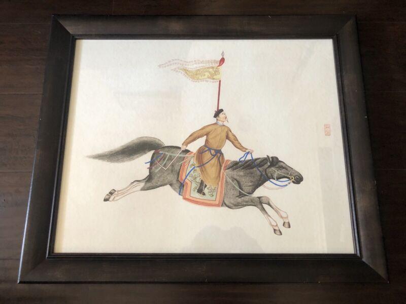 Fine Chinese War Flag Bearer Horseback Rider Scholar Original Art Figure SIGNED
