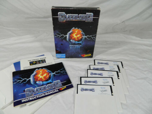 """OVERLORD IBM Tandy PC Game with Box and manual 5.25"""" disks"""