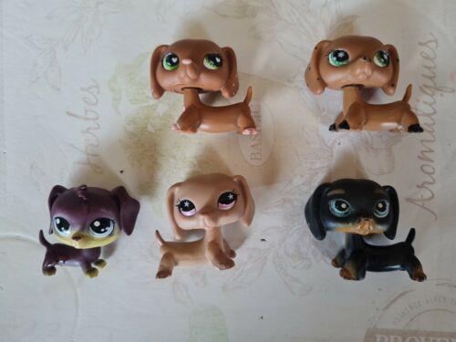 Lot  de 5 figurines petshop chien teckel 556 - 325 - nn84 - monopoly v2 - 932