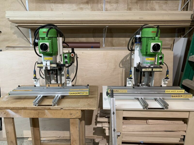 2 Grass ECO-PRESS-P 2hp 220v pneumatic hinge bore machines