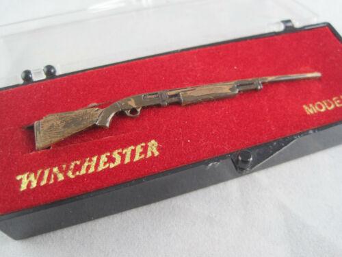 "Vintage Winchester Model 12 Shotgun Tie Bar Clip Clasp - Bronze Tone - 2 3/4"""