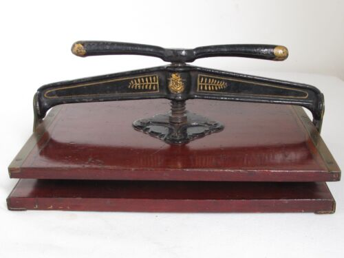 Antique Iron and Mahogany  Brass Bound Book Press