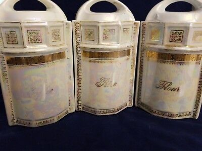 Antique German Canisters - Rice, Coffee, and Flour Iridescent opalescent colors