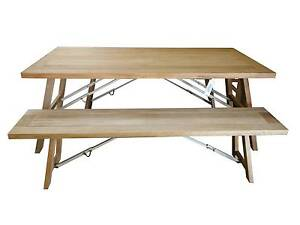 New Folding Outdoor Furniture Timber Dining Table Bench Seat Set Melbourne CBD Melbourne City Preview