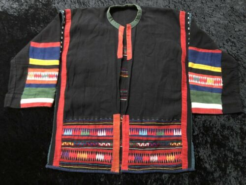 Thailand Hill Tribe Embroidered Vintage Jacket Coat Traditional Beaded Handmade