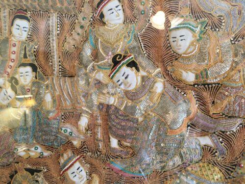Vintage Rare Burmese Kalaga Embroidery Wall Tapestry Asian Artwork 19th Century