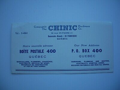Vintage Blotter «The Clinic Hardware Co.» Quebec Canada
