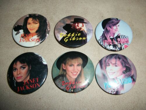 "Paula Abdul Janet Jackson Debbie Gibson Vintage Collectible 1.5"" Pin Button lot"