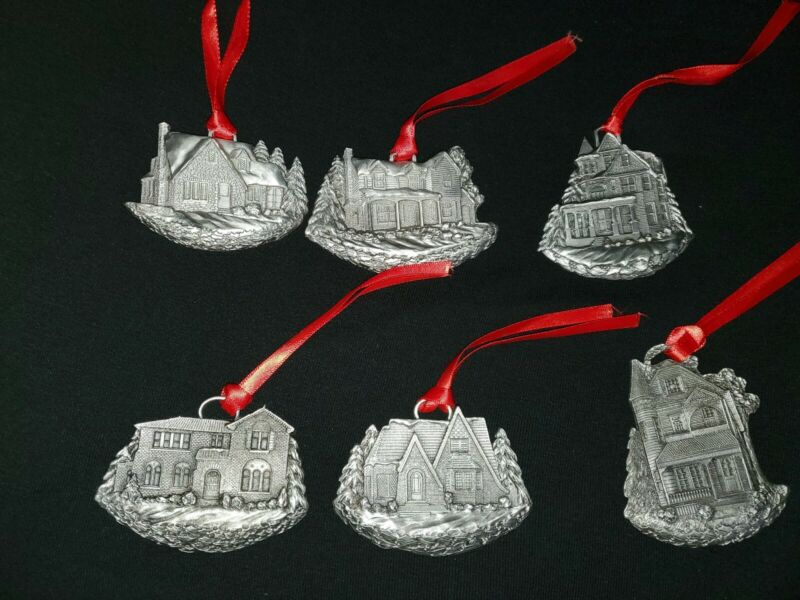 Vintage MGIC Limited Edition Group of 6 Schumann Christmas Pewter Ornaments