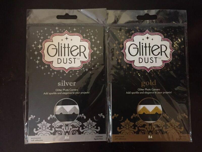 NIP Thermoweb Glitter Dust Photo Corners Set - Gold and Silver