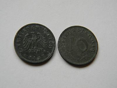 ALLIIERTE BESATZUNG: 10 Reichspfennig 1947 F, J. 375, sehr schön