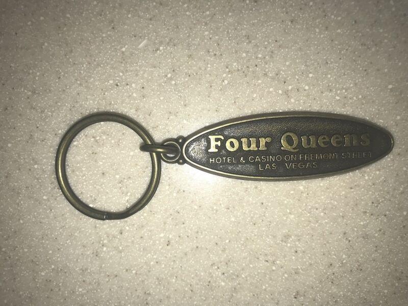 Four Queens Hotel On Fremont St. Heavy Metal Key Chain Las Vegas Nevada