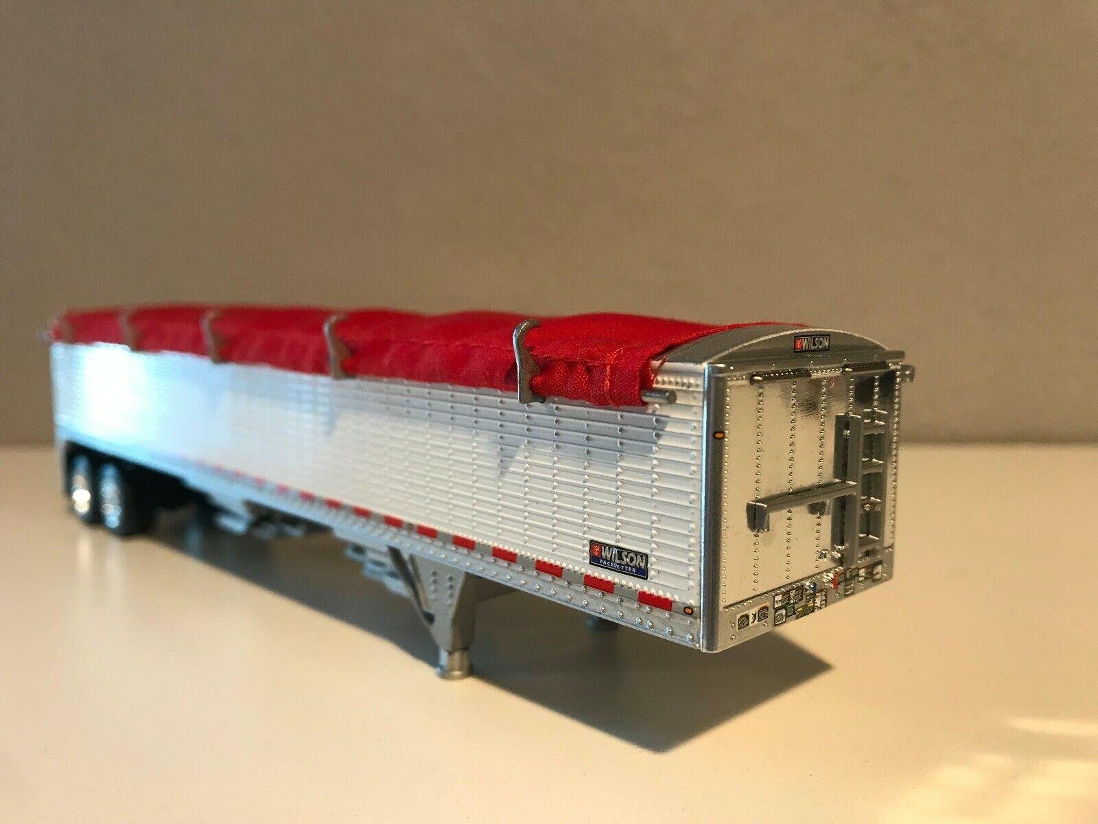 WHITE DCP 1/64 WILSON HOPPER BOTTOM W/ RED TARP HIGH SIDE TRAILER