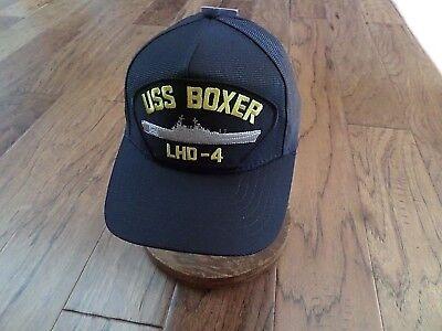 USS BOXER LHD-4 NAVY SHIP HAT U.S MILITARY OFFICIAL BALL CAP U.S.A MADE