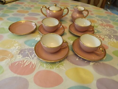 VINTAGE SICA EXPRESSO CHINA SET PINK W/GOLD TRIM FROM ITALY BEAUTIFUL