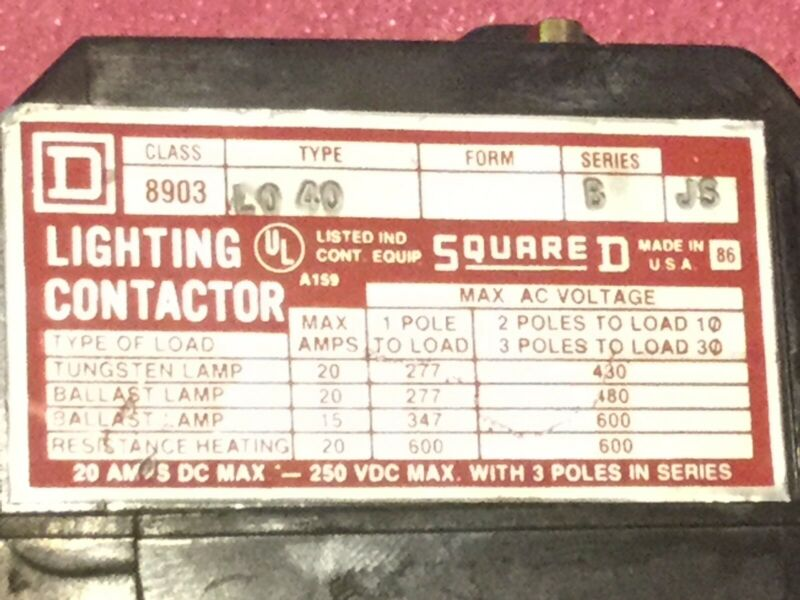 Square D Lighting Contactor 8903 L040